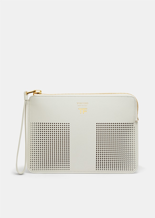 Perforated T Wristlet Clutch