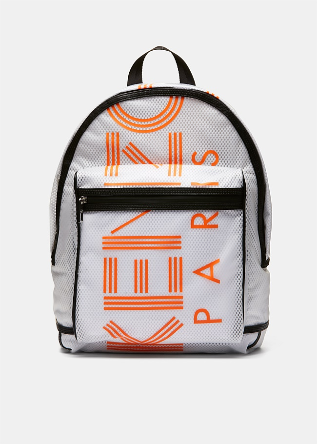 White Mesh Logo Backpack