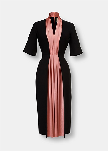 Nanda Contrast Panel Midi Dress