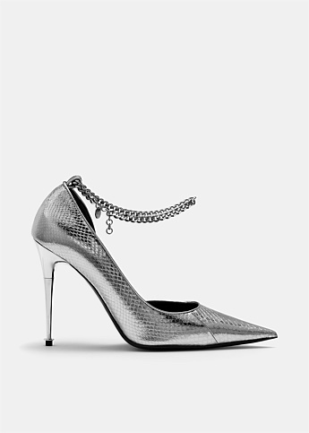 Python Chain Anklet Leather Pump