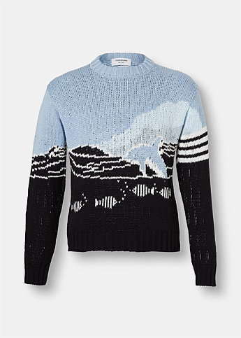 Cotton Crepe Scenic Dolphin Knit Sweater