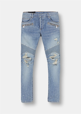 Slim-Fit Distressed Biker Jeans