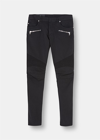 Slim-Fit Cotton Biker Pants