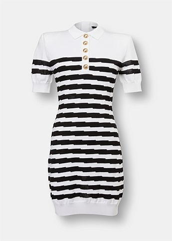 Striped Knit Polo Mini Dress