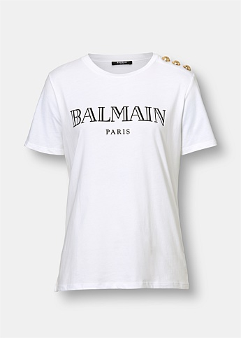 White Cotton T-Shirt with Black Balmain Logo Print