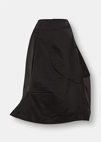 Asymmetric Technical Midi Skirt