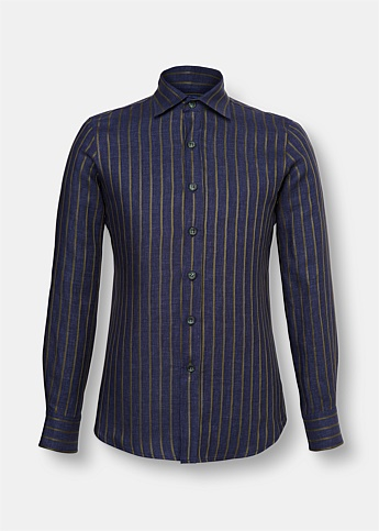 Striped Holiday Linen Shirt