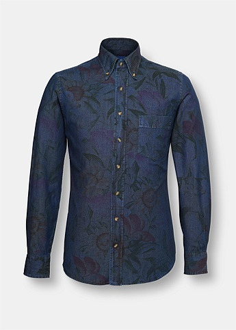 Faded Floral Print Denim Oxford Shirt