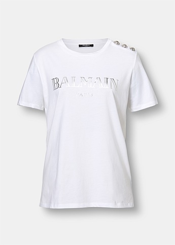 White Cotton T-Shirt with Silver Balmain Logo Print