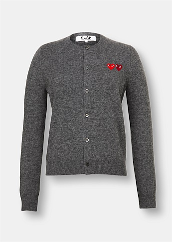 Grey Double Embroidered Heart Wool Cardigan