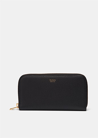 Zip Around Long Grained Leather Wallet