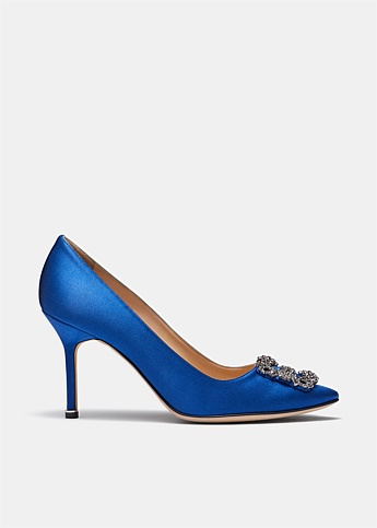 Hangisi 90 Blue Satin Jewel Buckle Pumps