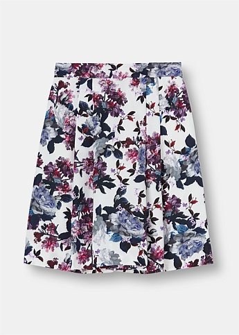 Ashanna Pleated Rose Print Skirt