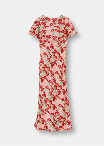 Jane Floral Print Silk Satin Maxi Dress