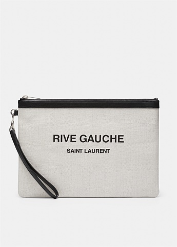 Rive Gauche Zippered Linen Canvas Pouch