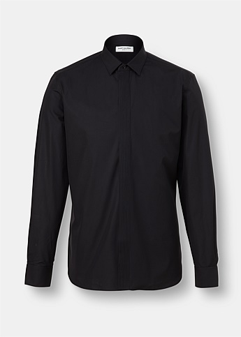 Pleated Placket Cotton Shirt