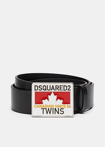 Twins Plaque Leather Belt