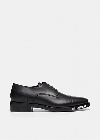 Logo Print Derby Leather Shoes