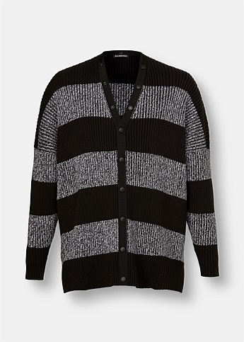 Striped Oversized Logo Print Cardigan
