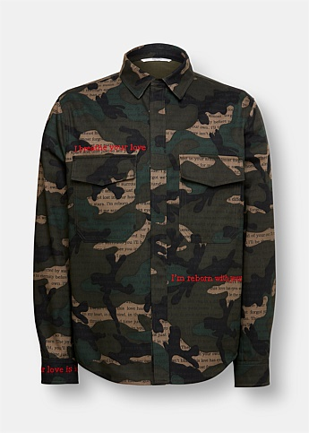 Camouflage Embroidered Shirt Jacket