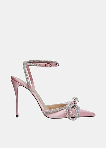 Double Crystal Bow Satin Heels