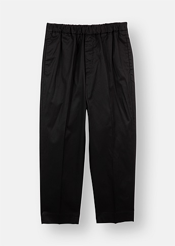 Cotton Elasticated Black Cropped Trousers