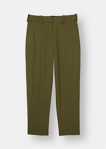 Carrot Tailored Wool Trousers - Khaki Green