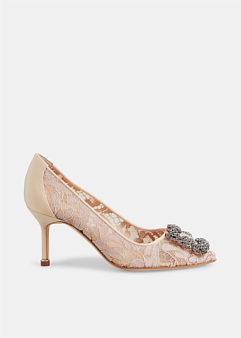 Hangisi Lace 70 Jewel Buckle Pumps