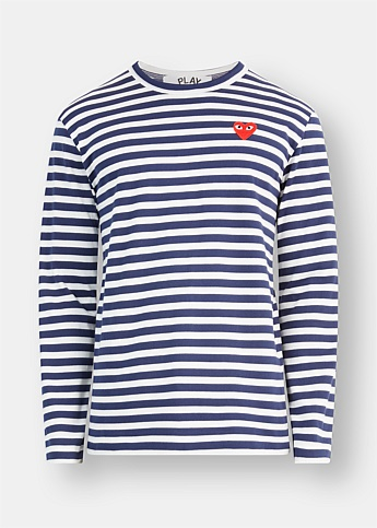 Heart Embroidered Long Sleeve Striped Tee