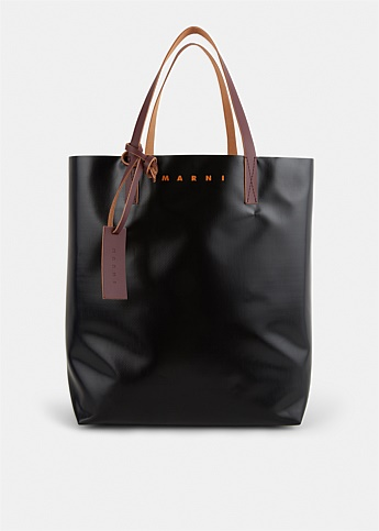 PVC Shopping Bag With Leather Handles