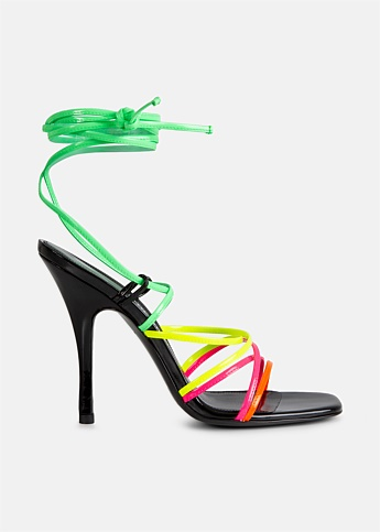 Fiona Neon Strappy Lace Up Sandals