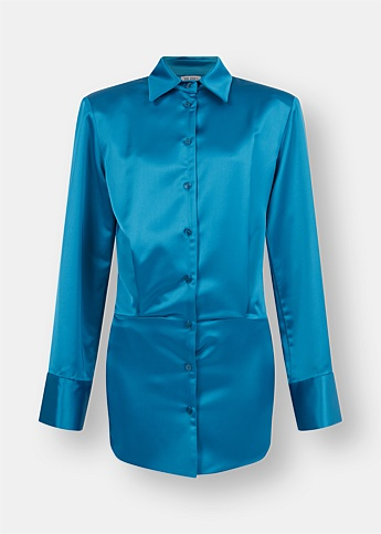 Margot Blue Shirt Mini Dress
