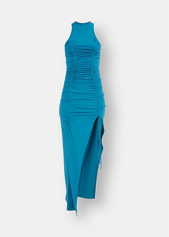 Ruched Blue Midi Dress