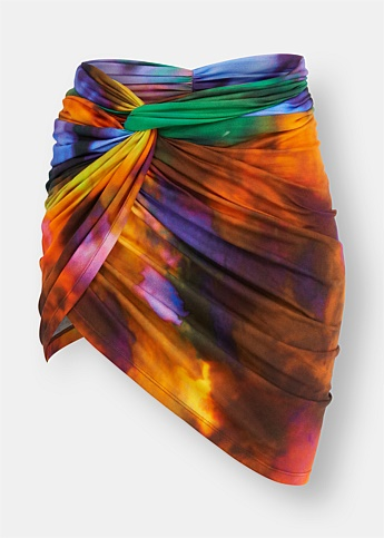 Tie-Dye Ruched Mini Skirt