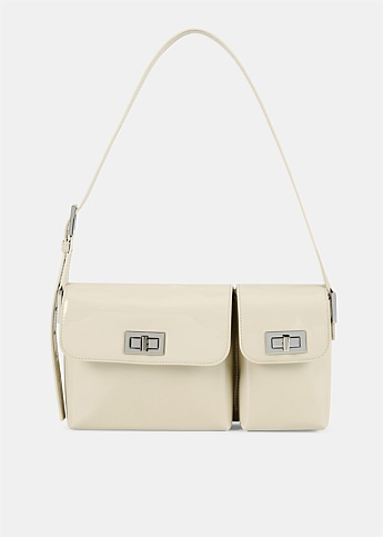 Billy Semi Patent Cream Leather Bag