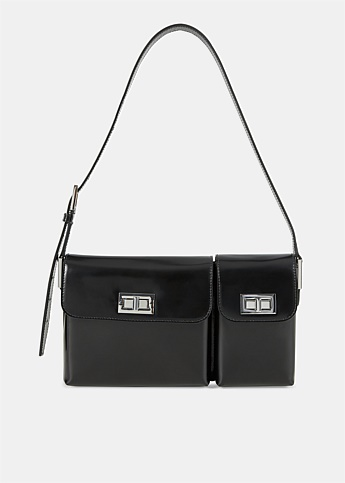 Billy Semi Patent Black Leather Bag