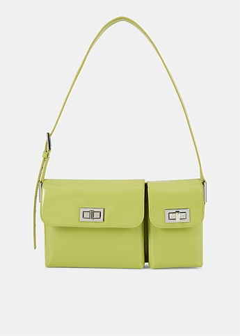 Billy Semi Patent Green Leather Bag