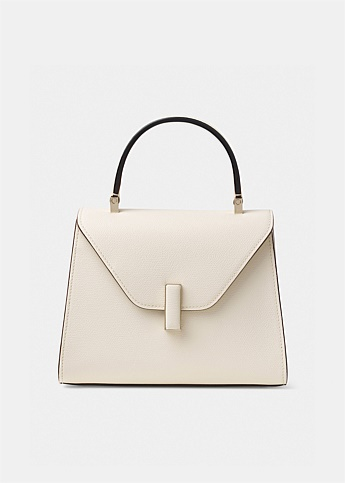 Iside Mini White Grained-Leather Bag