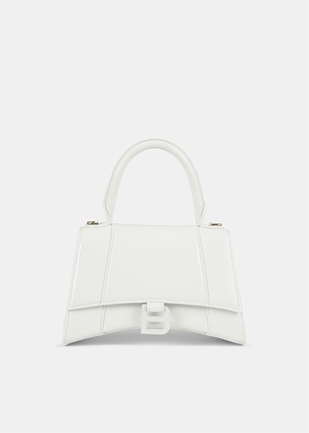 Hourglass Small Top Handle White Bag