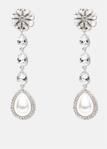 Long Crystal Pearl Drop Earrings