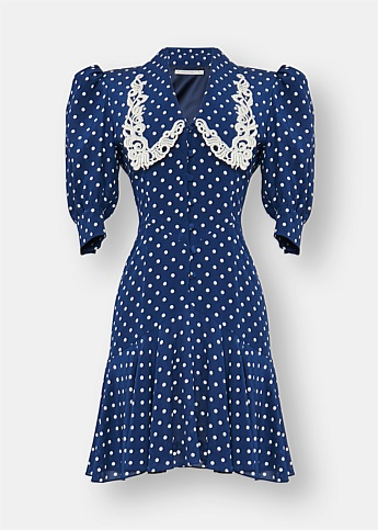 Polka Dot Mini Dress With Embroidered Collar