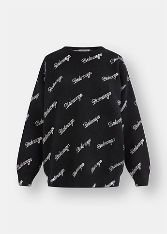 All-Over Script Logo Knitted Sweater