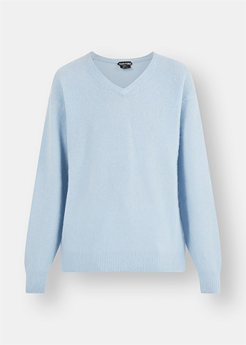 Brushed Pure Cashmere Pale Blue Sweater