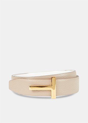 Grained and Shiny Leather Reversible Taupe T Belt