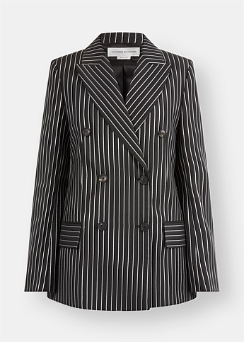 Pinstriped Double-Breasted Lurex Blazer