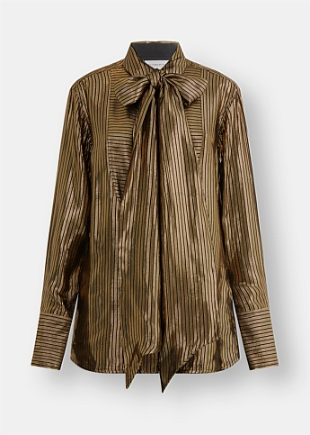 Gold Pussy-Bow Sheer Long-Sleeve Blouse