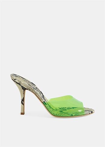 Penelope Neon Green and Snake Leather Mules