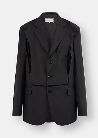 Deconstructed Cut-Out Wool Blazer