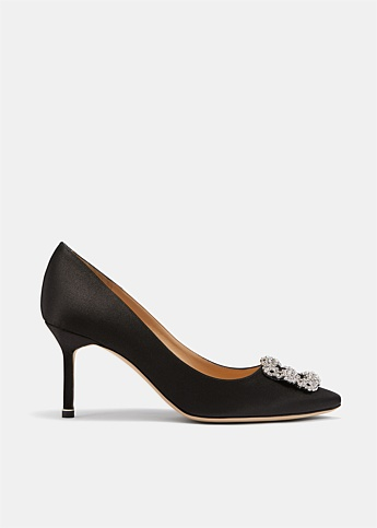 Hangisi 70 Black Satin Jewel Buckle Pumps
