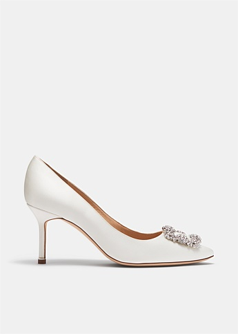 Hangisi 70 Cream Satin Jewel Buckle Pumps